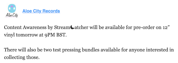 Content Awareness by Stream☾atcher vinyl releases tomorrow + other news 1