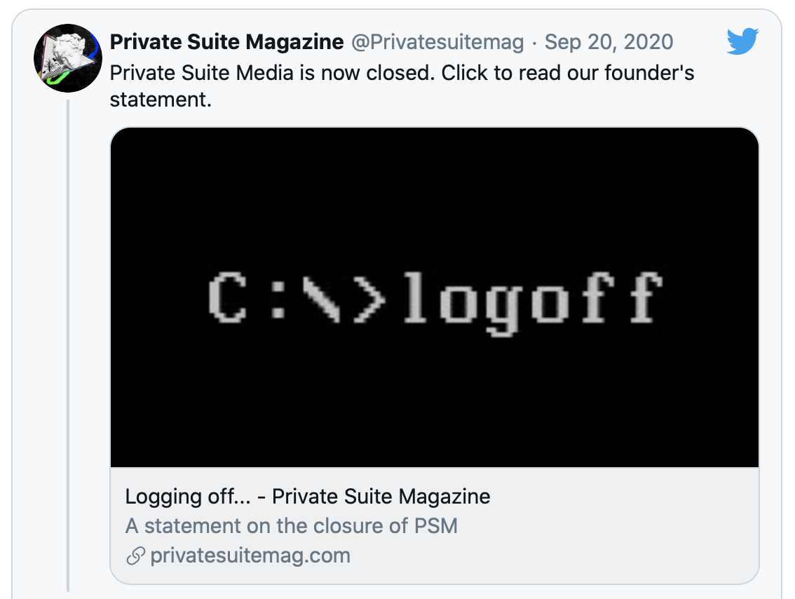 """Logging off…"" PSM shuts it's doors 12"